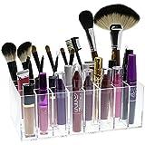 Moderno 24ranuras de acrílico transparente maquillaje Lip Gloss caja organizadora/baño y tocador maquillaje soporte rack