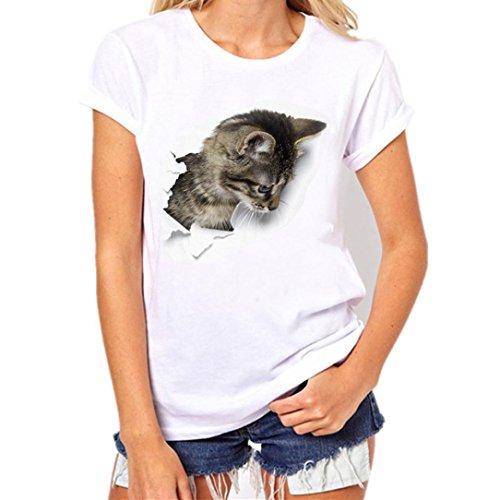 Venmo Hombre Mujer Cuello Redondo Gato Impresión Tops Tees Manga Corta Camisa Blusa Casual San Valentín Amante Pareja Camiseta Set (C Camiseta de Mujer, S)
