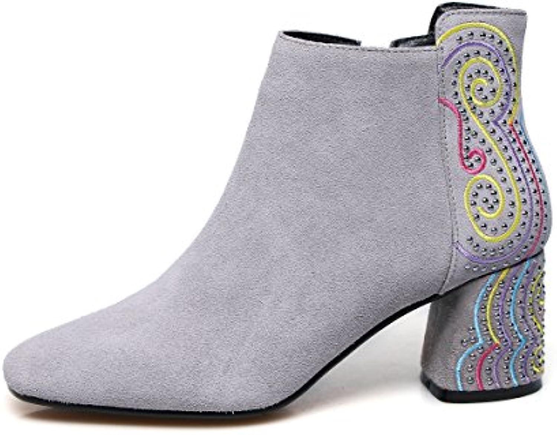 QIN&X La mujer de cabeza cuadrada de bloque corto botas zapatos de tobillo,gris,34