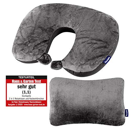 Dunlopillo 2 in 1 Reisekissen und Nackenhörnchen 31x21 cm - Nackenkissen für das Flugzeug & zum Reisen - Travel Pillow - Ergonomisches Kopfkissen mit Microperlen