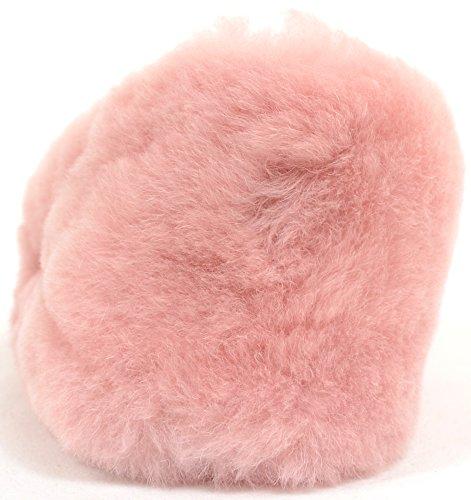 Da donna morbidi Slip On-Pantofole da donna in vera pelle di pecora Rosa (rosa)