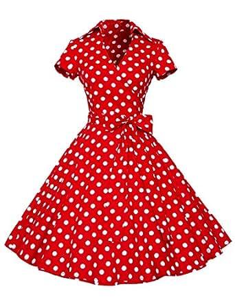 Dresstells Rockabilly Kleid 1950er Retro Polka Dots Kurz Faltenrock Petticoat Cocktailkleid