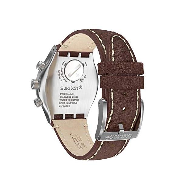 Swatch Reloj Analógico para Hombre de Cuarzo Suizo con Correa en Cuero-Piel