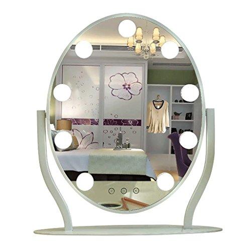 Silber Drei Licht-eitelkeit (Gcgg Make-up-Spiegel-Metallkluge runde LED mit Glühlampe-Desktop-Eitelkeits-Spiegel DREI-Farben Fülle Licht Schminkspiegel (Color : Black))