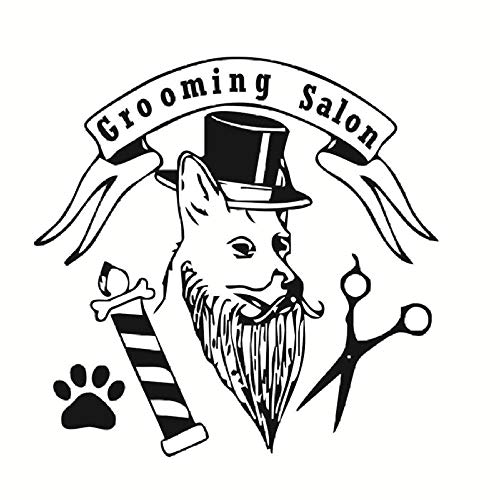 Mode Pet Grooming Salon Wandaufkleber Hund Mit Hut Pfote Lustige Schere Abnehmbare Abziehbilder Für Pet Shop Home Art Decor 44x43cm