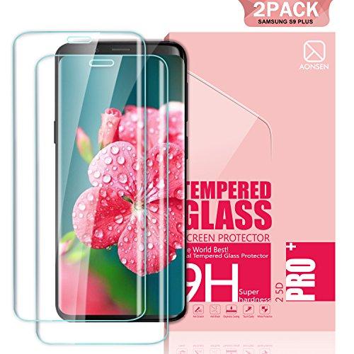 Youer Samsung Galaxy S9 Plus Panzerglas Schutzfolie, [2 Stück] Full Coverage HD Ultra Klar Abdeckung Gehärtetem Glas, HD Displayschutzfolie, Anti-Kratzer, 9H Härte,Klar Glatt, Anti-Fingerabdruck, Blasenfreie 3D Hartglas - Transparent