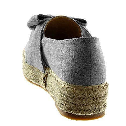 Angkorly Damen Schuhe Espadrilles - Slip-on - Plateauschuhe - Seil - Geflochten - Knoten Keilabsatz High Heel 4 cm Grau