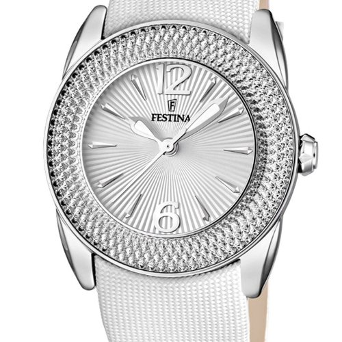 Festina Women's Quartz Watch with Silver Dial Analogue Display and White Leather Strap F16592/1