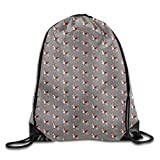 Bunny with Moon Lightweight Drawstring Bag Sport Gym Backpack Gym Bag for Men and Women