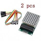 iHaospace 2 Pcs MAX7219 8x8 Dot Matrix Module MCU Control LED Display DIY Kit For Arduino