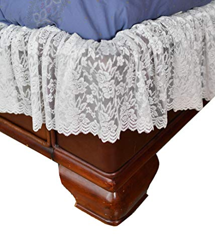 Home-X - weiße Spitze gewellt elastisch Bettumrandung, einfache Passform, Staub-Rüschen Bettrock, Twin/Full (Queens Kochen Geschirr)