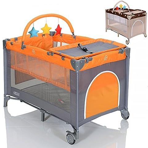 LCP Kids Kinder Reisebett höhenverstellbar Babylaufstall faltbar mit Wickelauflage - grau orange