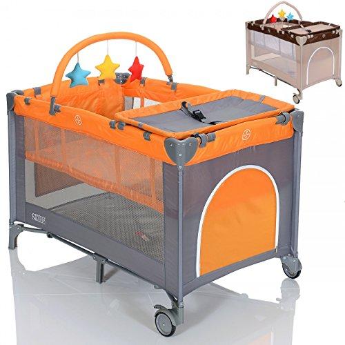 LCP Kids Kinder Reisebett höhenverstellbar Babylaufstall faltbar mit Wickelauflage – grau orange