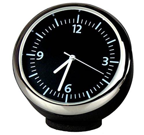 Custom hohe Genauigkeit Auto Uhr rund klein Onboard Quarz Uhr perfekt Auto-Dekoration (schwarz Zifferblatt & Schwarz Shell) 4* 4* 4