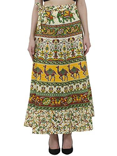 SKAVIJ Ethnischer Druck Maxirock der Frauen Baumwolle Wickelte Strandvertuschungskleid Ein (Skirt Wrap Set)