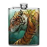 Hüftflaschen Presock, Tiger Walking In The Water 304 Food Grade Stainless Steel Flask 7 Oz Best Birthday Gift Present for Women Men