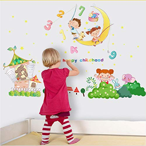 Zfkdsd Glückliche Kindheit Wandaufkleber Für Kinder Zimmer Schlafzimmer Wohnkultur Kinder Baby Aufkleber Digitale Selbstklebende Folie