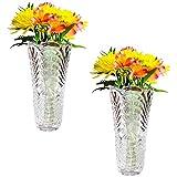 Kurtzy Pack 2 Floreros Altos de 30cm Decorativo Cristal Repujado - Decoración de Bodas, Centros de Mesas, Floreros para la Sala de Estar, Fiesta Evento - Regalo de Bodas y Decoración del Hogar