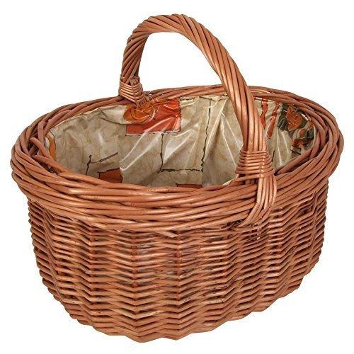 Weide Rose (Weiden-Einkaufskorb mit Folie Picknickkorb Flechtkorb Autokorb Transport Deko, Farbe:beige / Rose)
