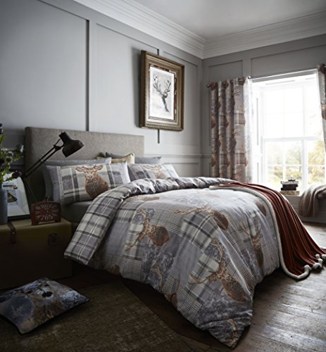 Catherine Lansfield Heritage Stag Duvet Set, Grey, King