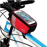 Gusspower Borsa per Telaio Bicicletta, impermeabile, con touch screen e tasca per telefono cellulare da 5,5 pollici, accessorio per Ciclismo/attività all'aperto, Rot