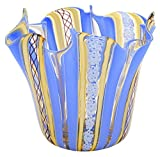 FAZZOLETTO - Jarrón de Cristal de Murano con Centro de Mesa, Fabricado en Italia, Azul Claro, Medium