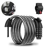 YoungRich Antivol Velo Abus - 120cm x 12mm cable Antivol Velo pour Scooter/Motos/Portail Vélo, avec 5 Chiffres Intelligente Code et Support de Montage – Noir