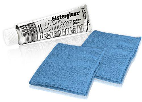 * Elsterglanz Silber-Polierpaste XXL-Tube 150 ml + zwei Mikrofaser-Tücher | Das Original aus Deutschland