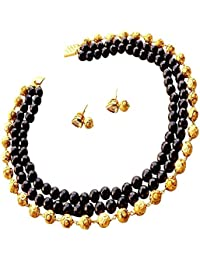 DEARA Ethnic Collection Black And Gold Jade Stone Beads Choker Necklace For Women/Girls