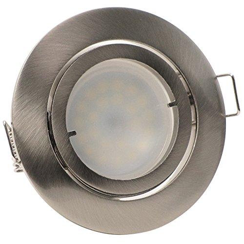 3er-Set LED Einbaustrahler PAGO 230V Farbe: Edelstahl gebürstet - inkl. austauschbarem LED-Leuchtmitte in Warm-Weiß
