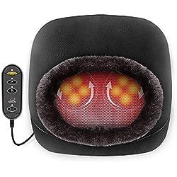 Snailax 2 en 1 Massage pieds shiatsu chauffant- Masseur de pieds avec chaleur et Coussin de massage pour le dos, Réchauffe-pieds et Soulagement des douleurs de pieds SL522S-FR