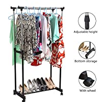 Double Pole Garment Rack Large Portable Clothes Hanger Clothes Drying Rack Rolling Adjustable Bar Sturdy