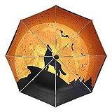 COOSUN Lobo de Halloween automático 3 Plegable del Paraguas del Parasol Color # 002