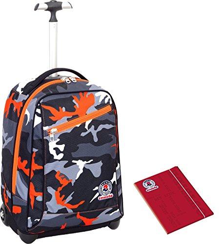 Trolley invicta + cartellina a4 - camouflage nero arancione - spallacci a scomparsa! zaino 35 lt scuola e viaggio