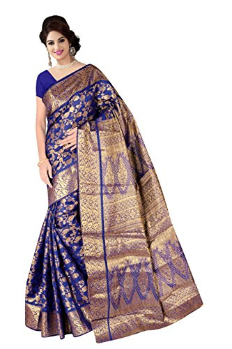 Boutique On Palm Bollywood Style New Generation Concept Party Wear Saree Banarasi Silk Sarees (Navy Blue Jacquard Vadi Velo)