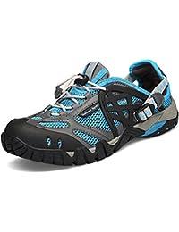 Sixspace Herren Damen Trekking Wanderschuhe Outdoor Sneakers Wasserdicht Gleitsicher mit Perfekter Dämpfung Dicker, Blau 40 EU