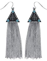 Front Row Silver Colour Long Drop Chain Tassel Earrings