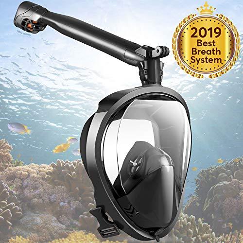 Joso Easy Breath Schnorchelmaske, Tauchmaske mit 180 ° Panoramablick, Längere drehbare Röhre, Anti-Schwindel Anti-Fog Anti-Leak Vollmaske für Erwachsene Tauchen Schwimmen Rückenschwimmen