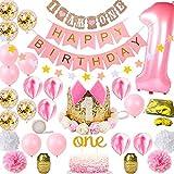 Decorazioni Compleanno Bambina 1 Anno Baby Shower Girl Kit,Collocazione Striscione Ghirlanda e Cappellino Compleanno,Fit Una Bambina di Un Anno Compleanno Decorazione Set (Pink2)