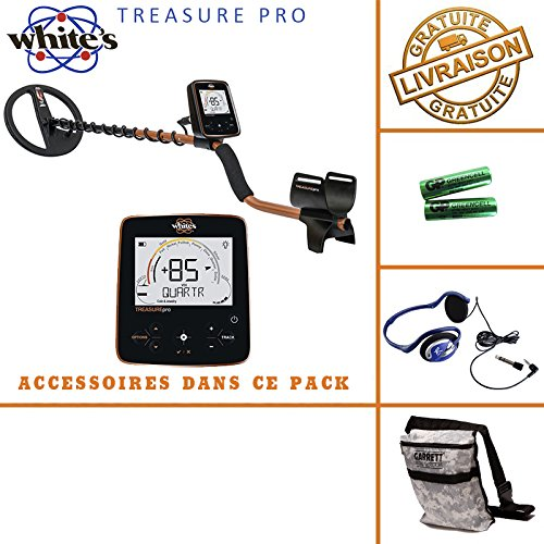 Whites Treasure Pro - Detector de metales, incluye casco, auriculares y bolsa