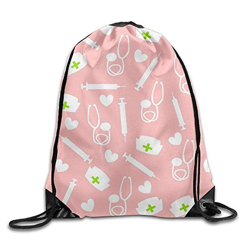 Drempad Tunnelzug Rucksäcke, Beauty Nurse Kawaii Girls Drawstring Bag Large Capacity Gym Sack Bag Gymnastics