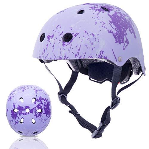 Exclusky Kinder/Kinder/Kinder Fahrradhelm CE Zertifiziert für Multi-Sport BMX Skateboard Roller Helm Alter 3-8 Jahre Jungen Mädchen (helles Lila)