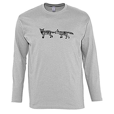 Hommes T-Shirts manches longues avec Two Playful Foxes Illustration imprimé.