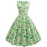 KUKICAT St. Patrick's Day Damen's Clover Ärmellose Abendkleider Print Retro Partykleider Ballkleid Schwingen Kleid