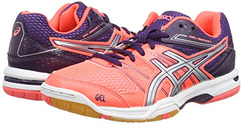 Asics Gel-rocket 7, Chaussures de Volleyball Femme Rouge (Flash Coral/Silver/Darkberry 0693)