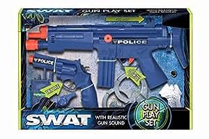 Police Gun Play Set Avec pistolet avec Sound, pistolet à la main, Sifflet, talkies-walkies + Menottes