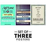 #7: Motivational Posters For Office And Study Room - Set of 3 Inspirational Wall Quotes | Size 12 x 18 Inch