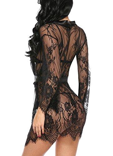 Avidlove Damen Sexy Dessous Spitze Negligee Kurz Kimono Robe Set Nachtwäsche mit Gürtel und G-String Bikini Cover Up BB Schwarz