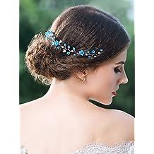 handcess boda diadema azul flor de cristal brillantes pelo Vine con cinta para novia de dama