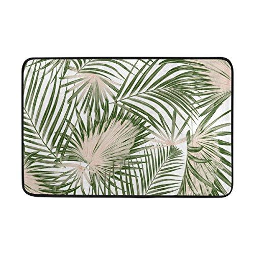 Palm Blätter Teppich (Ahomy Polyester Badteppich Tropic Palm Blätter Rechteckige Fußmatte Schlafzimmer Matte Wohnzimmer Badezimmer Dusche Matten Rutschfeste weiche saugstarke Kleine Bereich Teppiche 60x 40cm (2x 1.3ft))